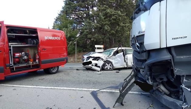 Accidente con un camión en Berrioplano