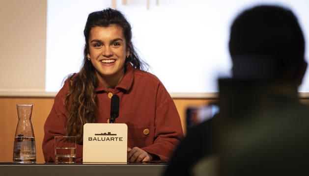 Amaia Romero, durante la rueda de prensa celebrada en Baluarte.