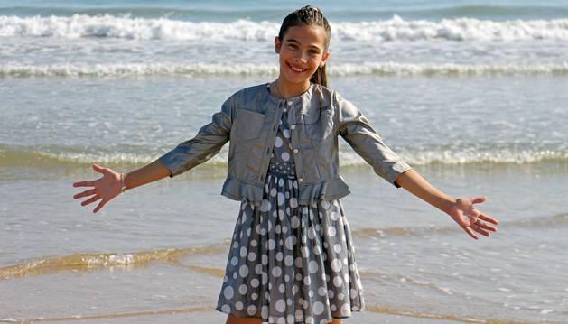 Melani García, durante la grabación del videoclip de 'Marte', la canción que representará a España en Eurovisión Junior.
