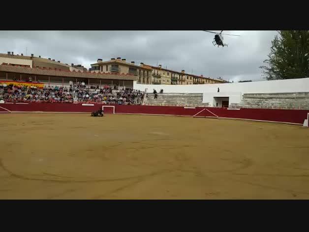 Vídeo del aterrizaje de un helicóptero de la Guardia Civil en la plaza de toros de Estella