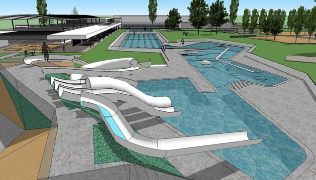 Imagen virtual del diseño de la piscina, con varias zonas diferenciadas.