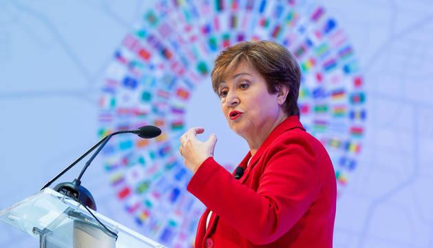 La nueva directora gerente del FMI, Kristalina Georgieva, en un acto del FMI en Washington.