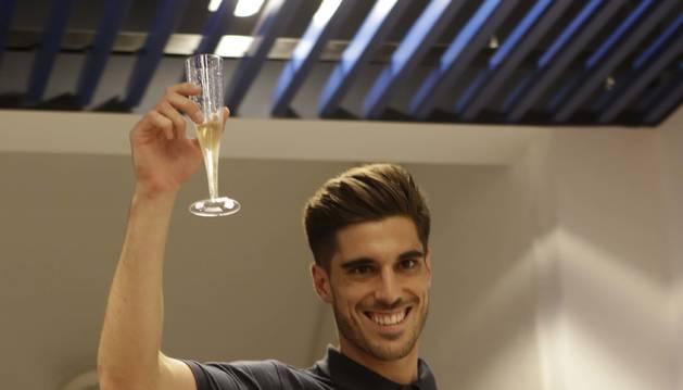 Nacho Vidal, en la celebración del ascenso a Primera