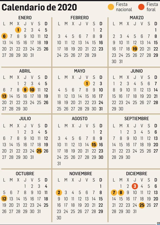 Imagen del calendario con los festivos de 2020.