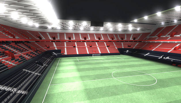 Una imagen del Muro Rojo, el nuevo estadio de El Sadar reformado y ampliado que verá la luz en un año.