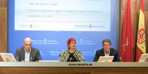 foto de Carpintero, Induráin y Barricarte durante la rueda de presentación de la campaña.