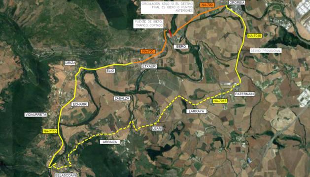 Foto del mapa de los trayectos recomendados mientras duran las obras.