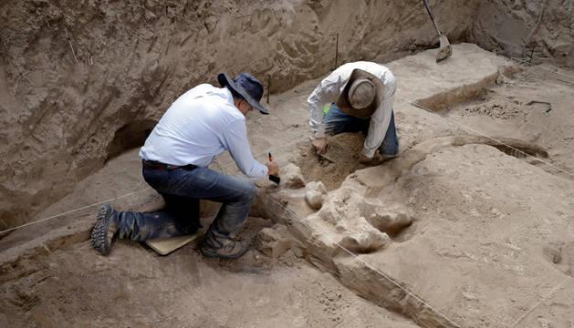 foto de Expertos del Instituto Nacional de Antropología e Historia (INAH) trabajan en el hallazgo de restos fósiles de mastodonte, en el estado de Puebla (México).