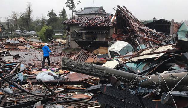 foto de Casas destrozadas por la llegada del tifón Hagibis a Japón