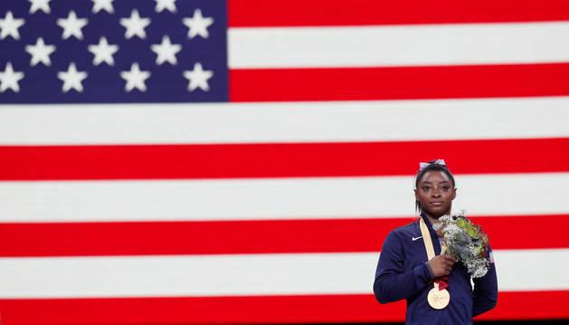 La gimnasta estadounidense Simone Biles supera el récord de medallas de Scherbo