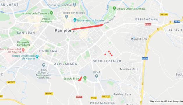 Mapa con los cortes de tráfico de este lunes, 14 de octubre, en Pamplona.