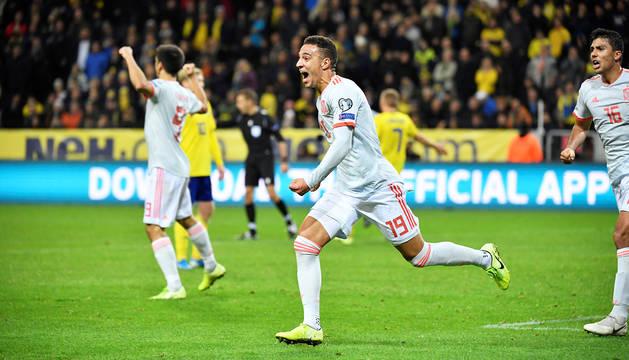 Rodrigo Moreno estalla de alegría tras anotar el tanto del empate en el descuento.