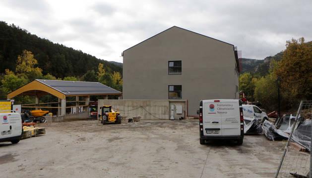 Foto de la obra del nuevo colegio de Roncal, esta semana.