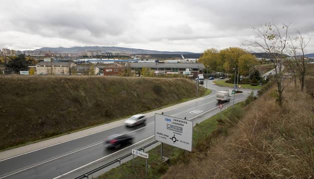 Vista de la zona entre Pamplona y Orkoien ahora sin conexión segura para peatones y ciclistas.