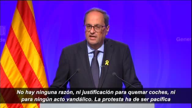 """Torra: """"La protesta, cuanto más multitudinaria, mejor, pero siempre pacífica"""""""