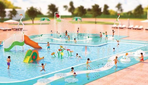 Foto recreación digital del aspecto que tendrá la piscina lúdica de chapoteo que se construirá en Mutilva.