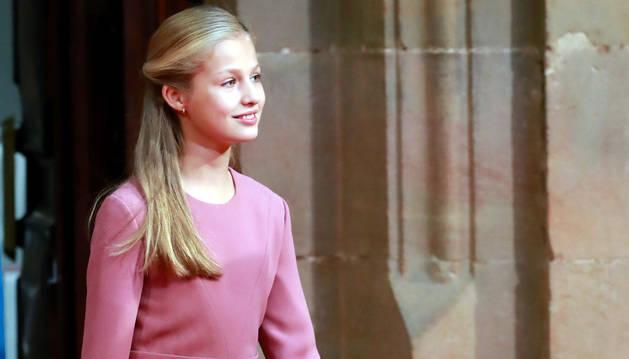 La princesa Leonor, durante las audiencias que han tenido lugar este viernes en el Hotel Reconquista de Oviedo.