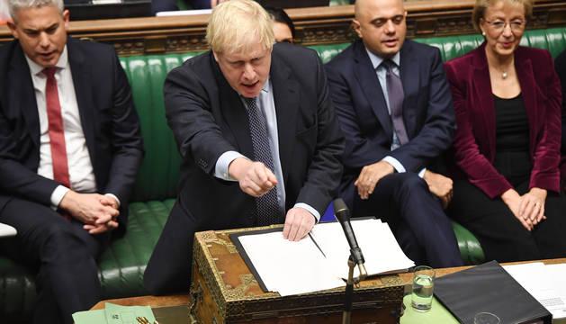 El primer ministro británico, Boris Johnson, durante el debate en el Parlamento de Reino Unido.