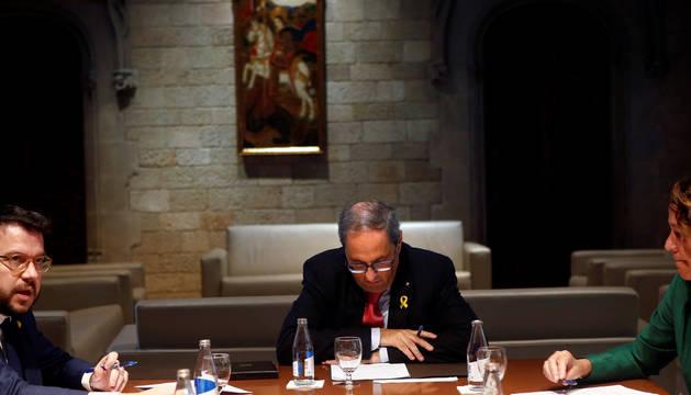 El presidente de la Generalitat, Quim Torra, durante la reunión que ha mantenido con alcaldes catalanes.