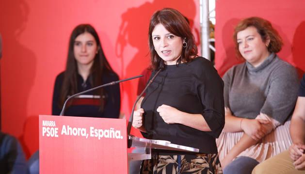 Adriana Lastra durante el acto político del PSOE en Cintruénigo.