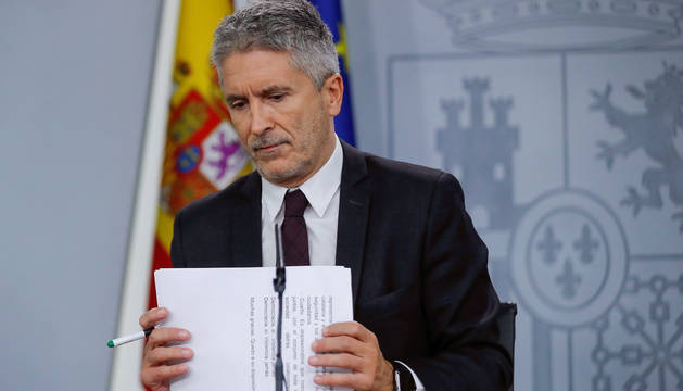 Grande-Marlaska, este domingo, durante de la rueda de prensa en el Palacio de la Moncloa tras la reunión del comité de seguimiento de la situación en Cataluña este domingo.
