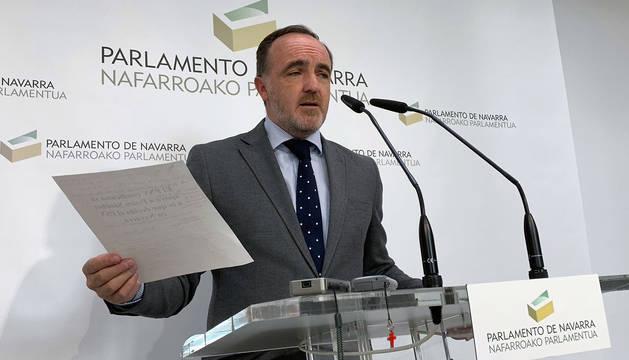 Javier Esparza, en su comparecencia de este lunes.
