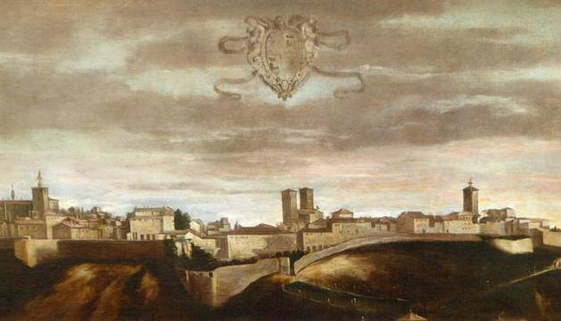 El cuadro adquirido por el Gobierno de Navarra Vista de Pamplona y que va a ser sometido a un exhaustivo estudio cuando llegue a Pamplona.