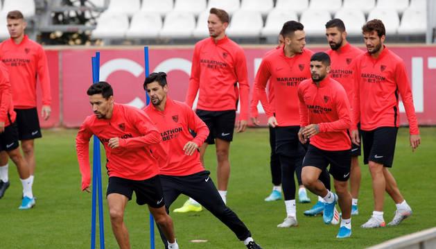 Entrenamiento del Sevilla previo al partido contra el Dudelange.