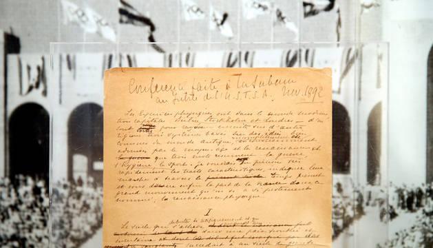 Foto del manifiesto original, fechado en 1892, en el que Coubertin expuso sus ideas y razones para recuperar los Juegos Olímpicos.
