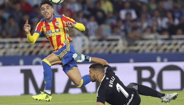 Nacho Vidal marcó este gol en Anoeta con la camiseta del Valencia en 2018.