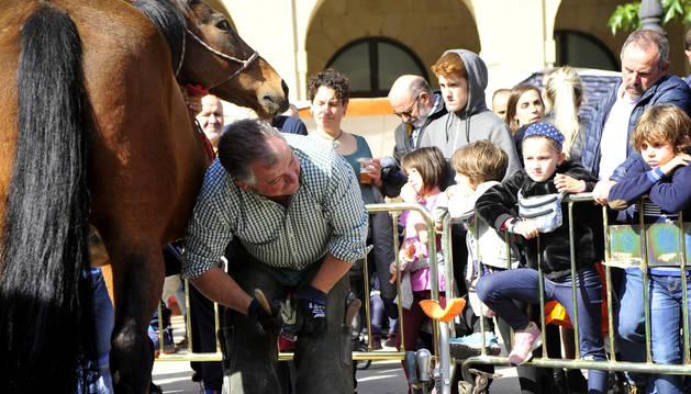 Miguel Ángel Esparza hizo una demostración de herrado de caballo a fuego y forja de herraduras.