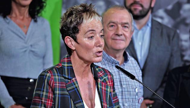 Bel Pozueta, candidata de EH Bildu al Congreso, en el acto de comienzo de campaña.