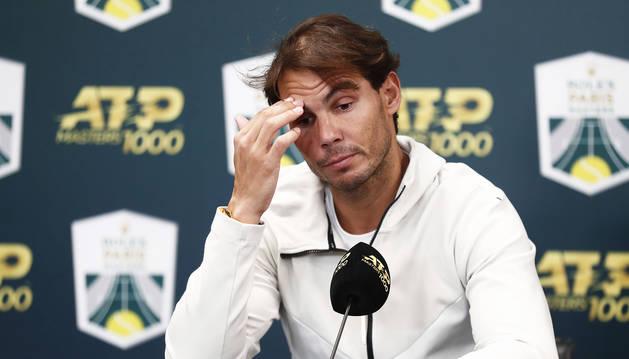 Rueda de prensa de Rafa Nadal tras retirarse por lesión de la semifinal del París-Bercy.