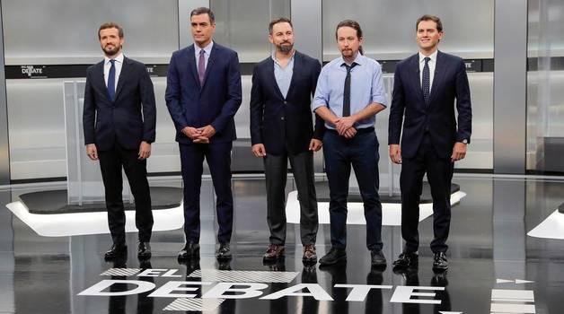 Pedro Sánchez (PSOE), Pablo Casado (PP), Pablo Iglesias (Unidas Podemos), Alberti Rivera (Ciudadanos) y Santiago Abascal (VOX) protagonizaron el único debate entre los candidatos en la campaña electoral de las elecciones generales que se celebran el 10 de noviembre de 2019.