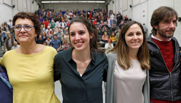 Foto de la portavoz de Unidas Podemos en el Congreso y candidata por Madrid, Irene Montero, durante su participación este martes en un encuentro en la Universidad Pública de Navarra.