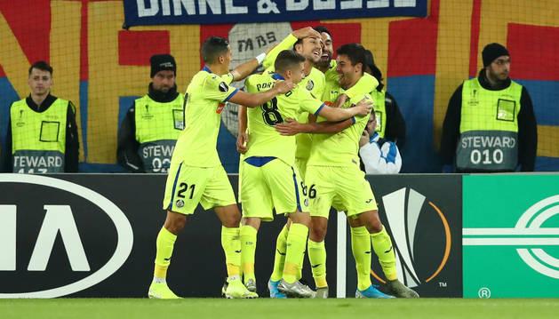 Celebración del gol del Getafe.