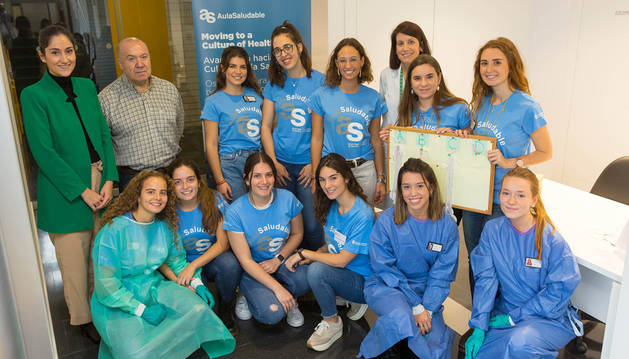 Alumnos de San Cernin, en una actividad de promoción de la salud en la UN