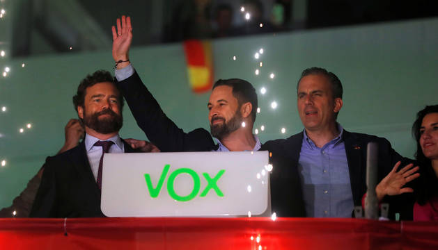 Abascal, en la sede de VOX en Madrid.
