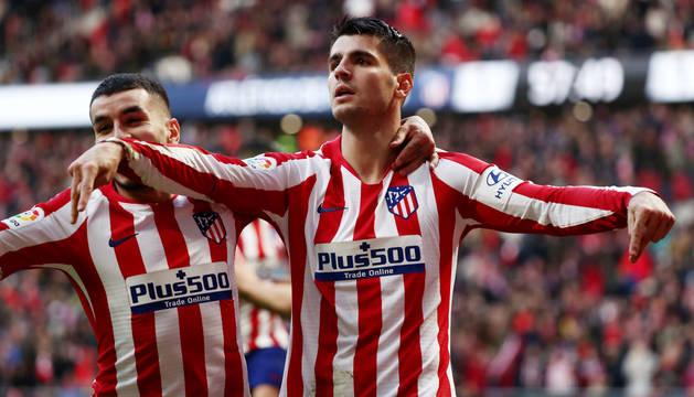 Morata celebra su tanto, el segundo de su equipo, ante el Espanyol.