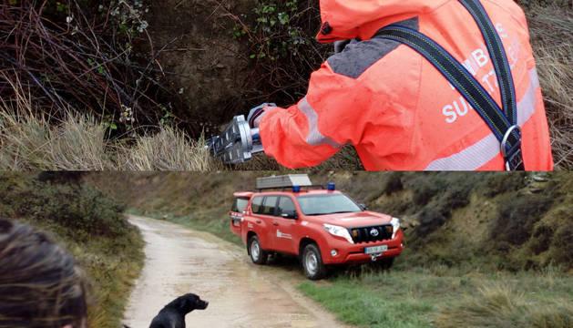 Dos momentos del rescate de la perra.