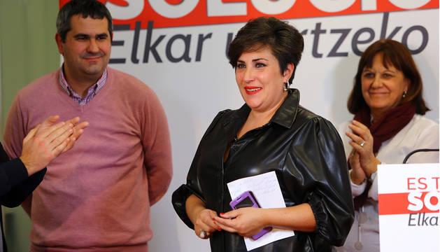 Foto de María Solana, este domingo en la sede de Geroa Bai.