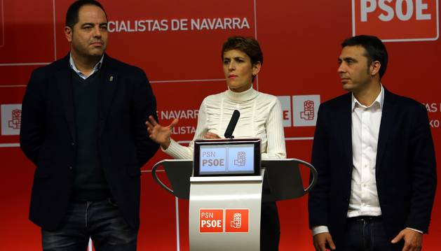 Foto de María Chivite comenta los resultados electorales de este domingo.