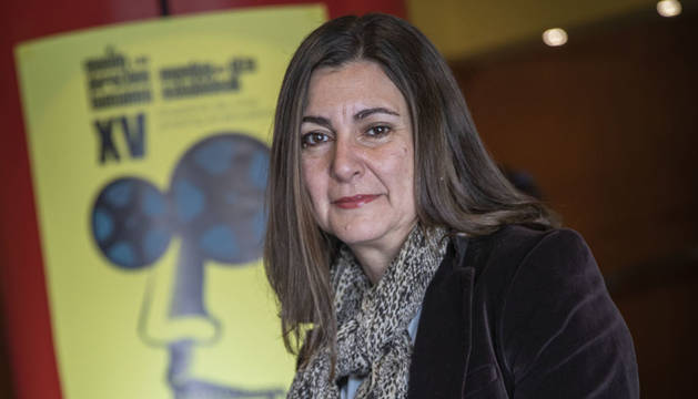Pilar Pérez Solano, este miércoles, en los cines Golem de Pamplona, donde presentó La defensa, por la libertad.