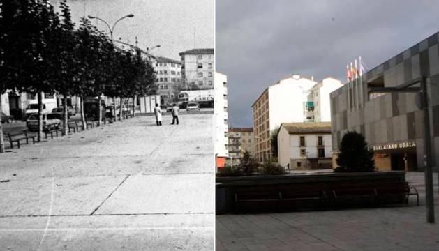 La plaza de Las Eras de Burlada, a finales de los años 80 del siglo pasado y la plaza de Las Eras en la actualidad.