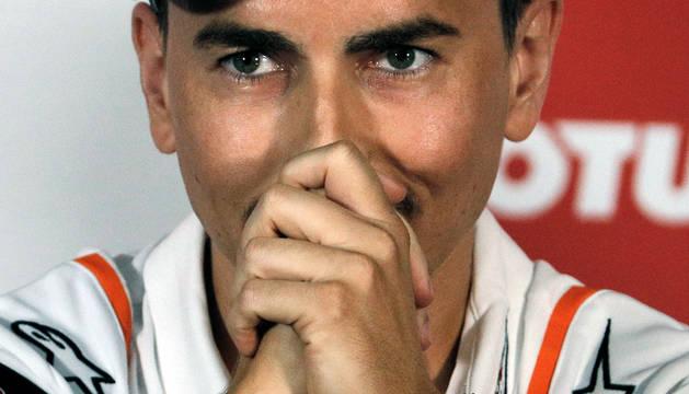 El piloto español Jorge Lorenzo, del equipo Repsol Honda, durante la rueda en el Circuito Ricardo Tormo de Valencia,donde anunció su retirada.