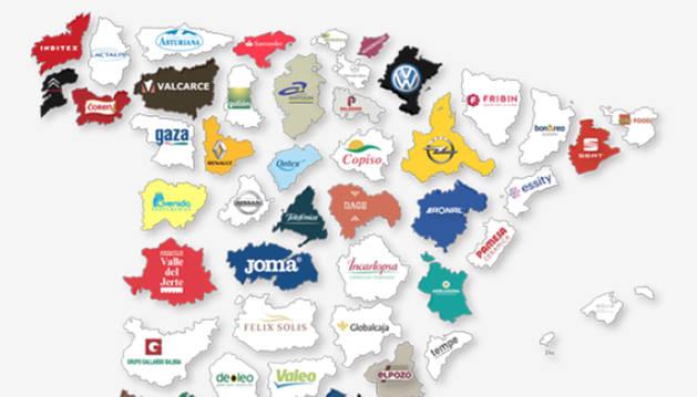 Mapa de las empresas más importantes en cada provincia española.