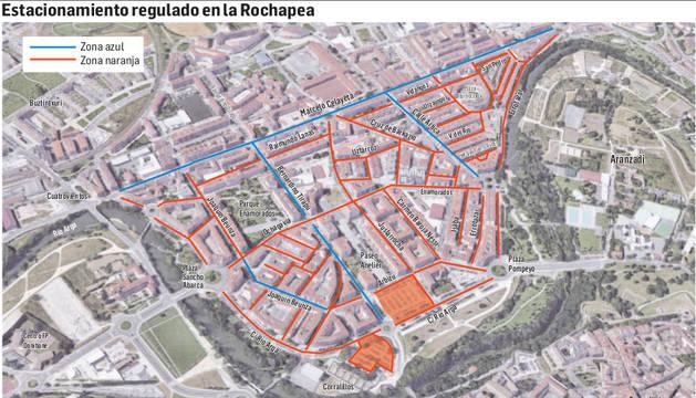 Mapa del estacionamiento regulado en el barrio de la Rochapea.
