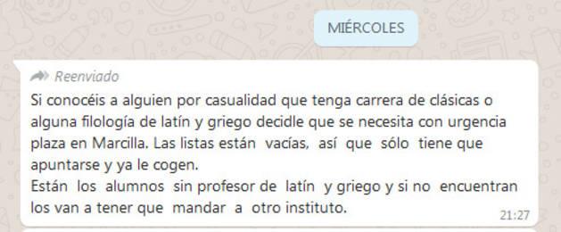 El instituto de Marcilla desmiente el bulo que corre por Whatsapp sobre su profesor de latín y griego