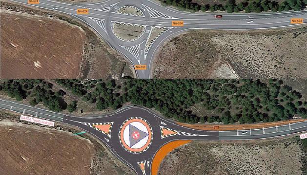 Vista actual y recreación del proyecto de construcción de la rotonda en la intersección entre la NA-624 y la NA-653.