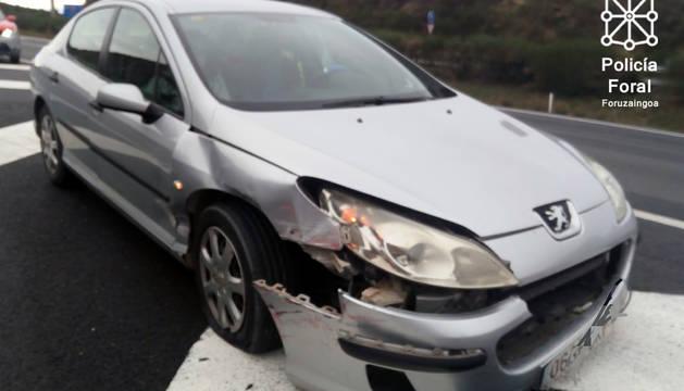 Estado en el que ha quedado el vehículo siniestrado en Pueyo.